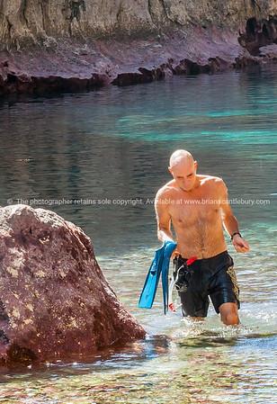 beautiful calm turquoise tropical water of Matapa Chasm Niue