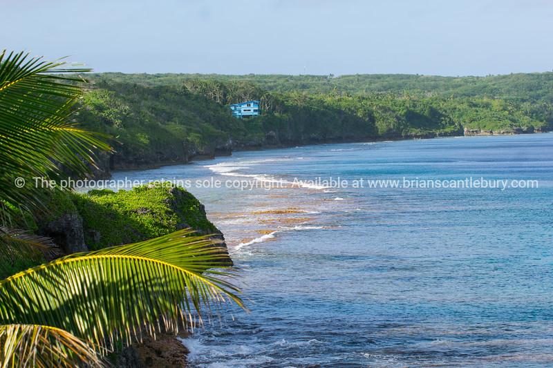 Blue building amongst bush on coastal Niue.