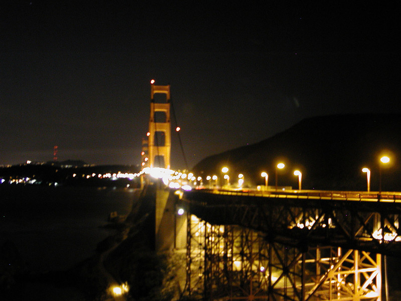 Fuzzy hand-held shot of the Golden Gate Bridge from the Marin side.  The weather was warn and clear with a dry offshore breeze.