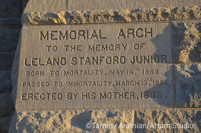 Memorial Arch (only columns remain; arch destroyed in 1906 quake) cornerstone, June 2012