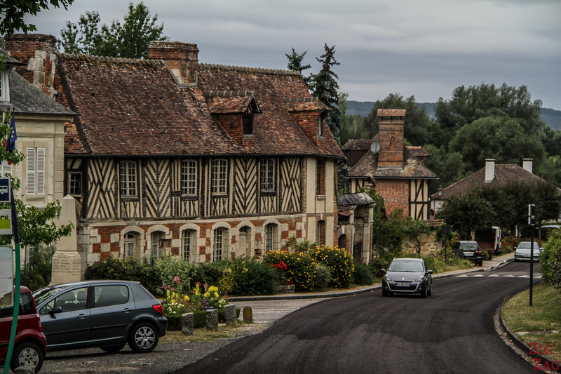 Le Bec-Hellouin streets with Half timbered houses 3