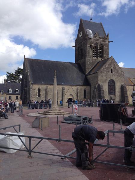 Sainte-Mère-Église preparing for the festivities.