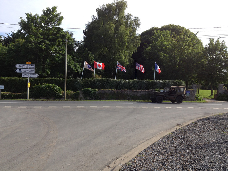 Towards Omaha Beach. Looked like 4th of July at times with all the American flags. Lots of WWII trucks.