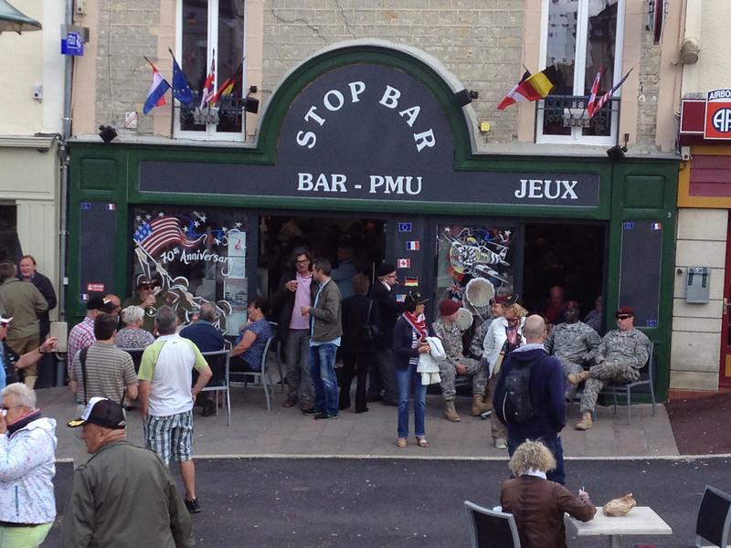 Sainte-Mère-Église - the famous Stop Bar. Ground zero for all festivities.