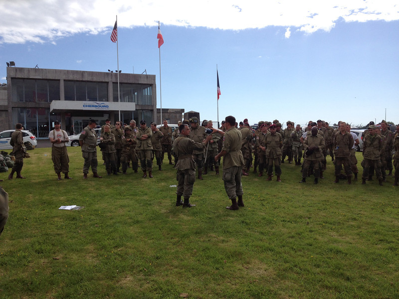 In front of the Cherbourg airport building. Preparing for the La Fière jump.