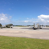 There they are the Dakota C-47 / DC-3 old warriors. These both have a illustrious career dating back to before the D-Day landings, and both participated in the landings. Drag-em-oot - Chalk 3X still has some holes left.<br /> Just amazing jumping out of museums...