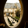 View of the courtyard of the Hotel Tarif from our room in Bayeux.  The hotel was built in 1725.