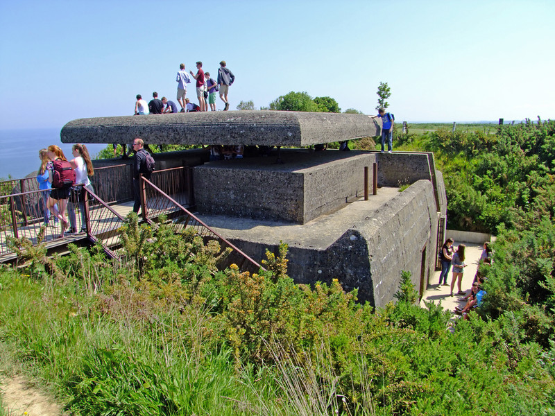 The French school children are requred to visit the Normandy beaches during their schooling.  We saw a number of classes learning about D-Day and the Allied invasion.  This bunker was used by the Germans as a lookout and to direct the fire from the big guns.