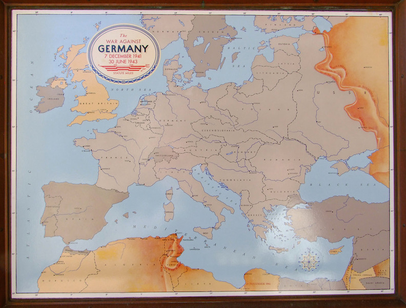The following three maps show German domination of Europe that began to shrink with the D-Day invasion of Normandy and the liberation of France.  You can also see the Russians moving toward Germany from the east.