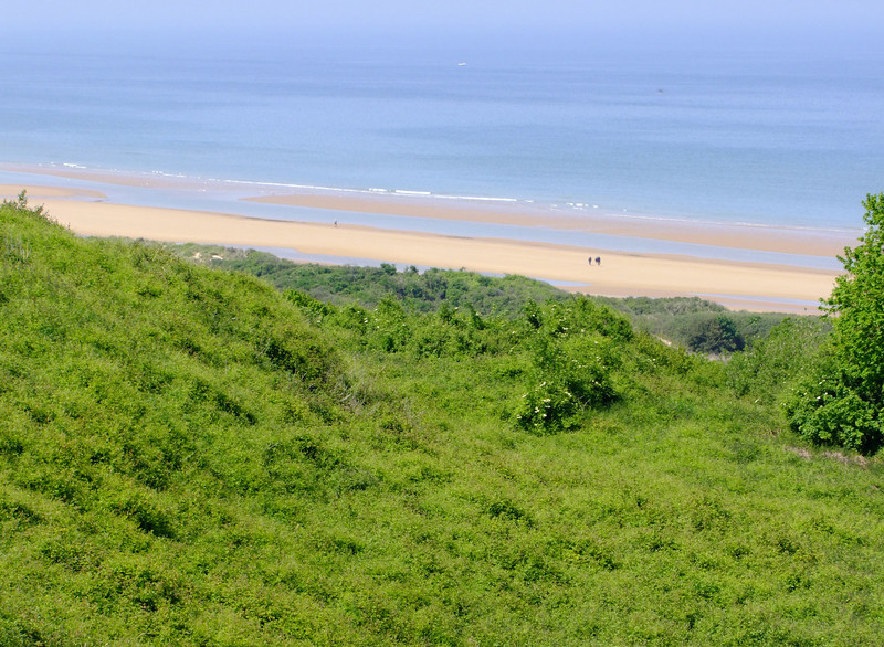Looking down on Omaha Beach from the hill top - where so many Americans died on D-Day.
