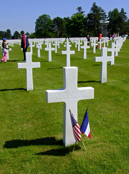 The American Cemetery at Omaha Beach where nearly 10,000 American service men are buried.  It is a very emotional place.