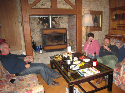 What you can't see, due to the camera flash, is that the Colin, Pauline and Terry are sitting in front of a roaring fire.  The woodburner stove was invaluable and this is summer!!