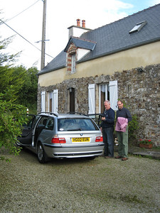 Colin and Terry outside the cottage in St Sauvier, about 40 minutes from Cherbourg.  Terry's car.