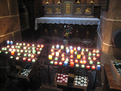 Votive candles in Bayeaux Cathedral.
