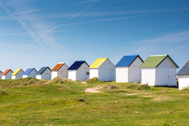 Beach cabins, Normandy, France