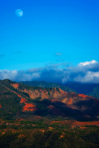 Moonrise over Waimea Canyon, Kauai, Hawaii