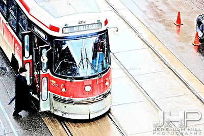 """Man In Black and The Queen West Streetcar"", Toronto, ON,  Canada, 2011 Print JP11-111-0009"