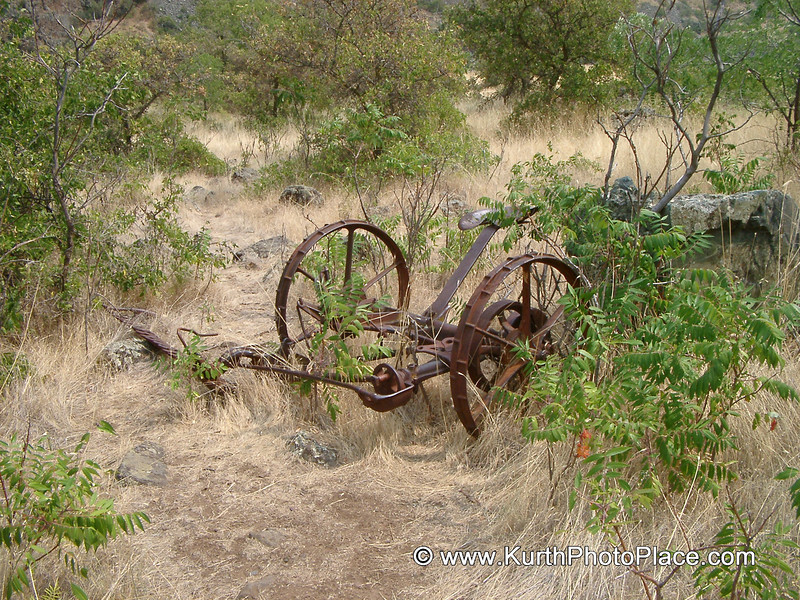 This rusty horse drawn farm equipment remains from the era before this canyon became a National Recreation Area.