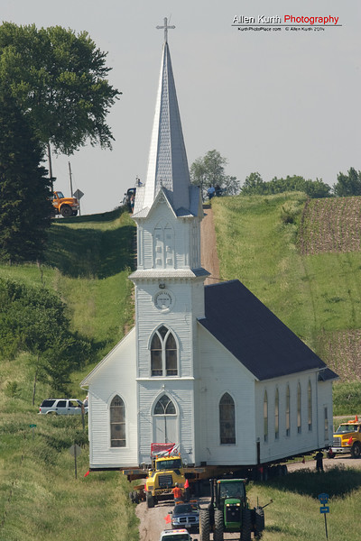 This country church served its community for 125 years.  It's retirement and move to Manning Iowa was a sight to behold