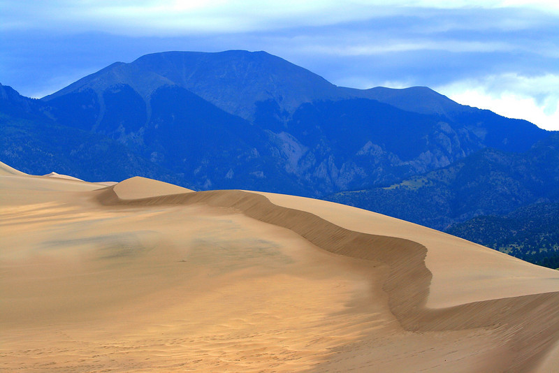 Dunes and Blue Hazed Mountains - Colorado