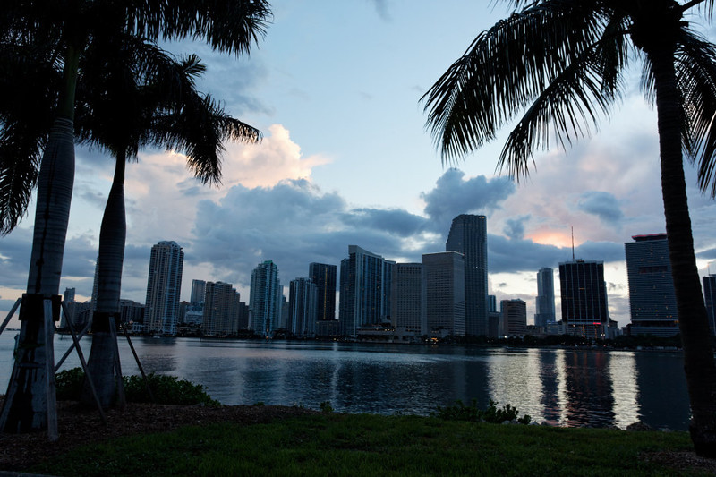 Miami downtown, shot from dodge island, parking lot from Royal Caribbean Building