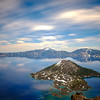Wizard Island beneath a streaky sky at Crater Lake