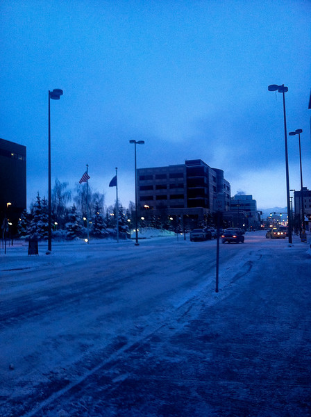 Downtown Anchorage at 9am...sun is not even up yet!