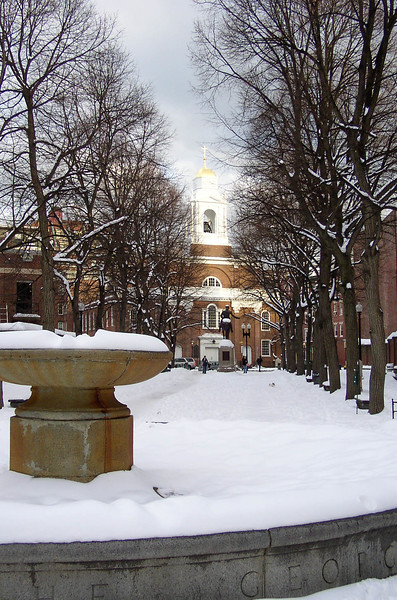 Paul Revere Mall and St. Stephen's Catholic Church in Boston.