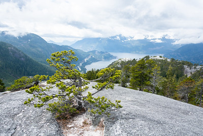 Howe Sound and Highway 99 from the top of the Chief in Squamish, British Columbia