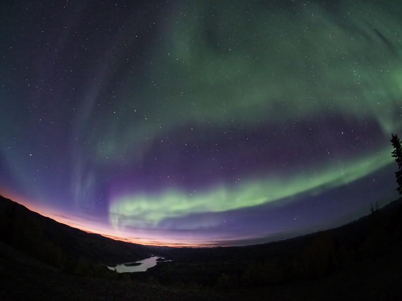Aurora and sunset