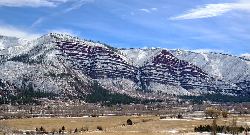 Red cliffs near Durango as seen from the Durango & Silverton Narrow Guage Railroad.