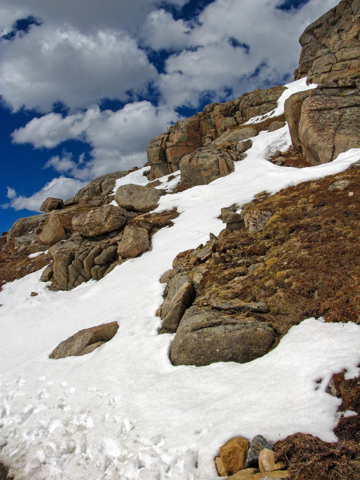 Snowy rocks on top of Mount Evans.