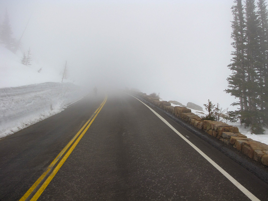 Looking up Trail Ridge Road from Rainbow Curve. The road was still closed at this point due to snow plowing operations.