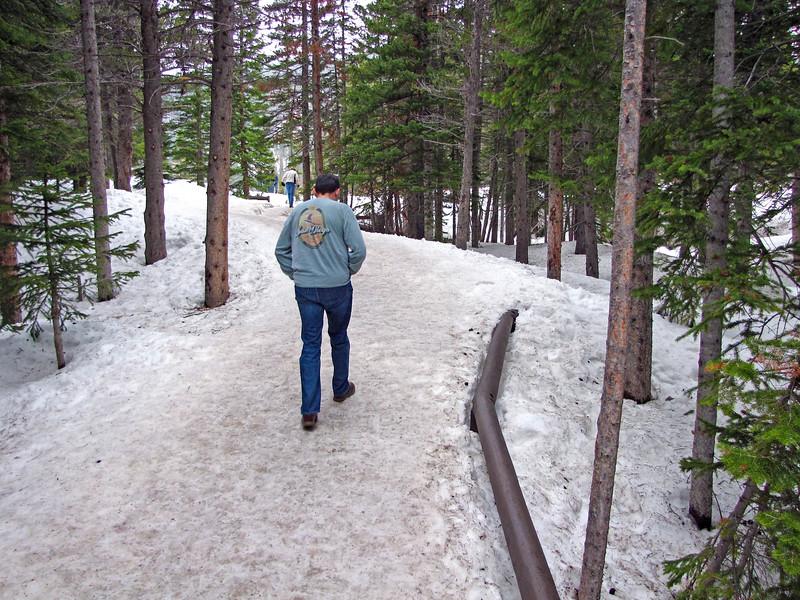Snowy trail at Bear Lake, Rocky Mountain National Park.
