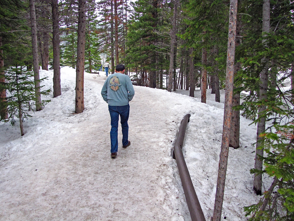 Snowy trail at Bear Lake, Rocky Mountain National Park.