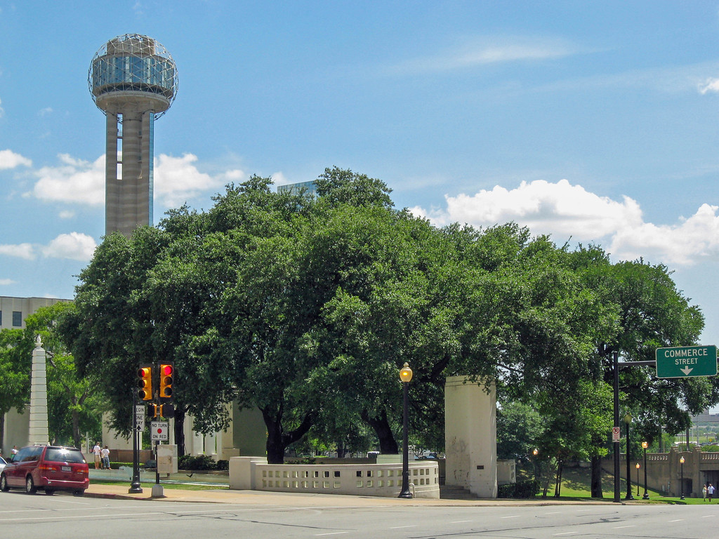 Dealey Plaza with Reunion Tower in the background