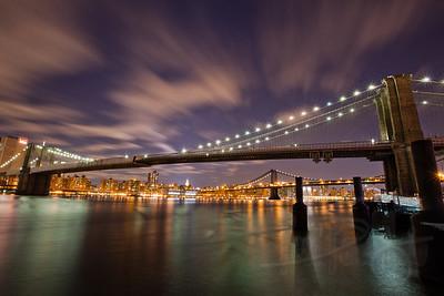 Brooklyn Bridge and NYC skyline from Brooklyn. New York City.