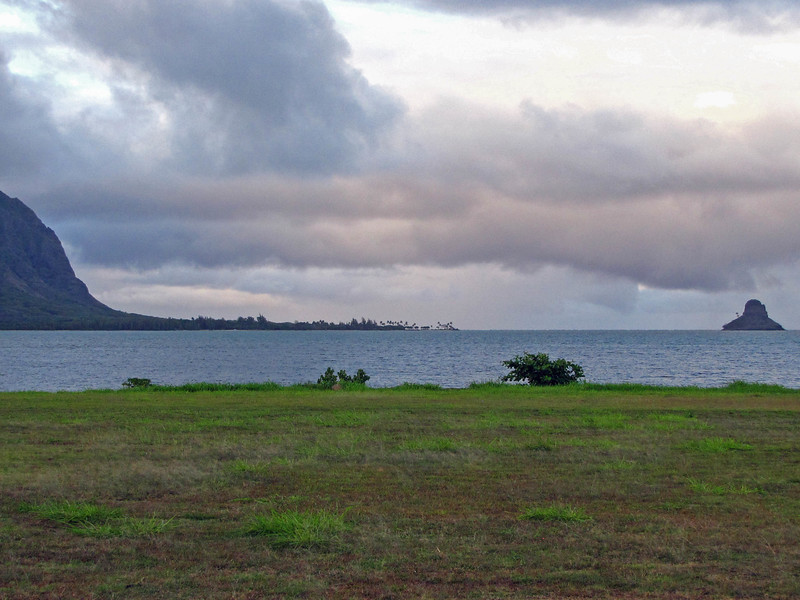 The windward side of Oahu, with Chinaman's Hat (Mokolii Island) on the right side in the distance.