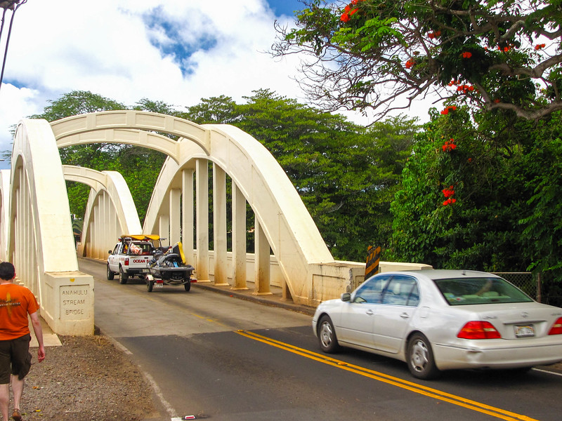 The historic Rainbow Bridge over the Anahulu River in Haleiwa.