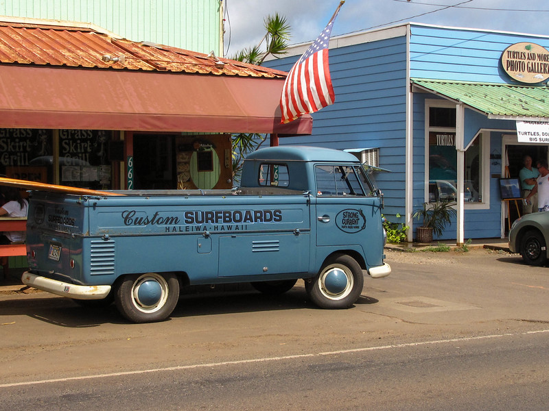 A old VW truck at a surf shop on the North Shore.