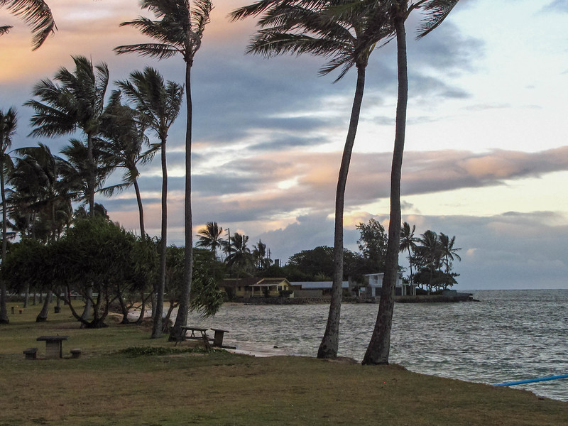 Kualoa Regional Park, Oahu, at sunset.