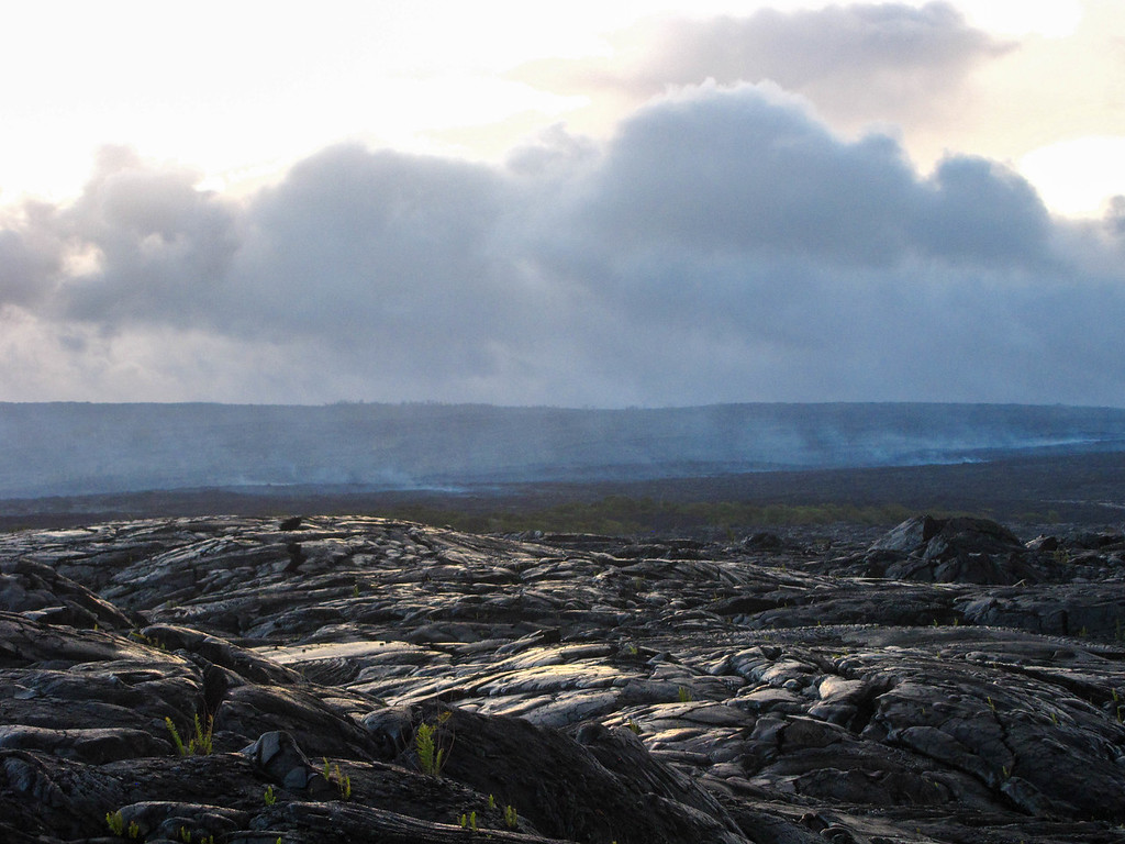 Lava viewing area, near where the lava was actively flowing. Red spots in the distance after dark were visible where the lava was flowing.