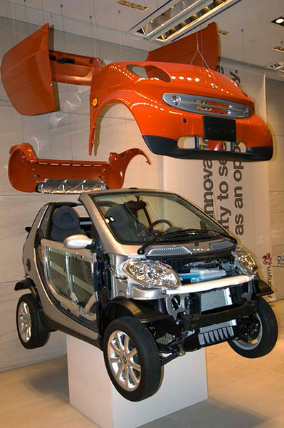One of the SmartCar design firms has an office in Manhattan and this exploded SmartCar was on display in their lobby.
