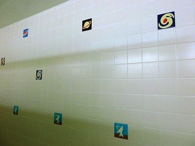 Whimsical tiles in the bathroom