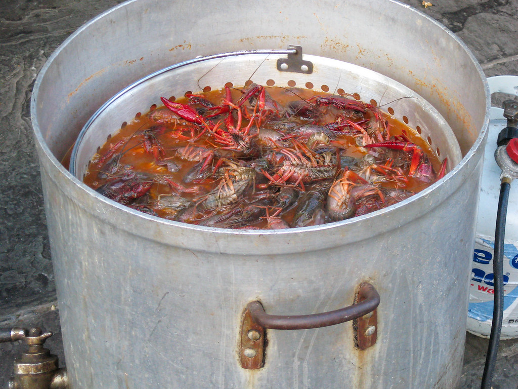 Crawfish boiling in a French Market restaurant