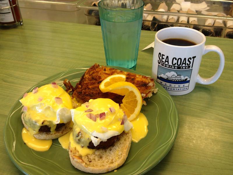 Breakfast at Snow City Cafe...Salmon Eggs Benedict!