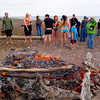Bonfire on the beach to warm up!!
