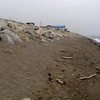 The beach and seawall protecting Nome from the Bering Sea