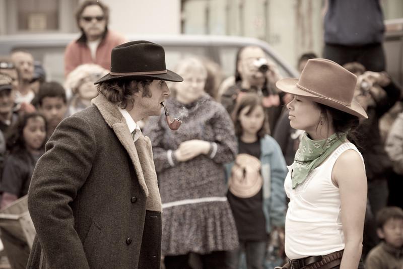 Wyatt Earp confronting the bank robber