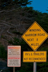 Warning turning onto Coleman Valley Rd.